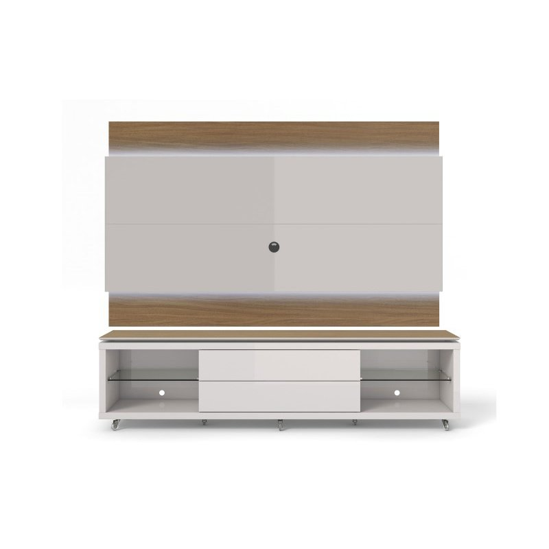 Manhattan Comfort Lincoln TV Stand with Silicone Casters and Lincoln Floating Wall TV Panel with LED Lights 1.9 in Maple Cream and Off White