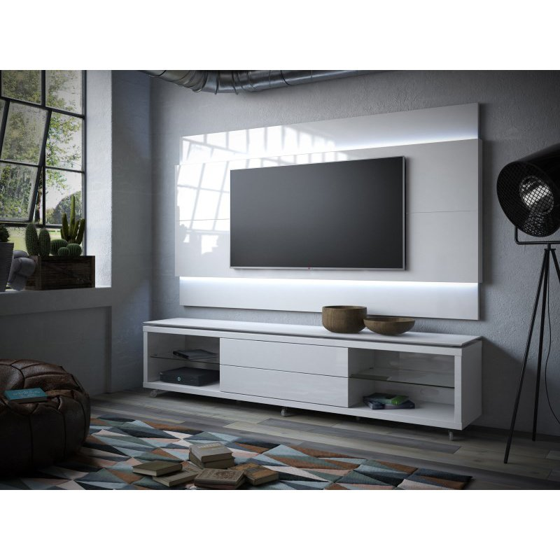 Manhattan Comfort Lincoln TV Stand with Silicone Casters and Lincoln Floating Wall TV Panel with LED Lights 2.2 in White Gloss