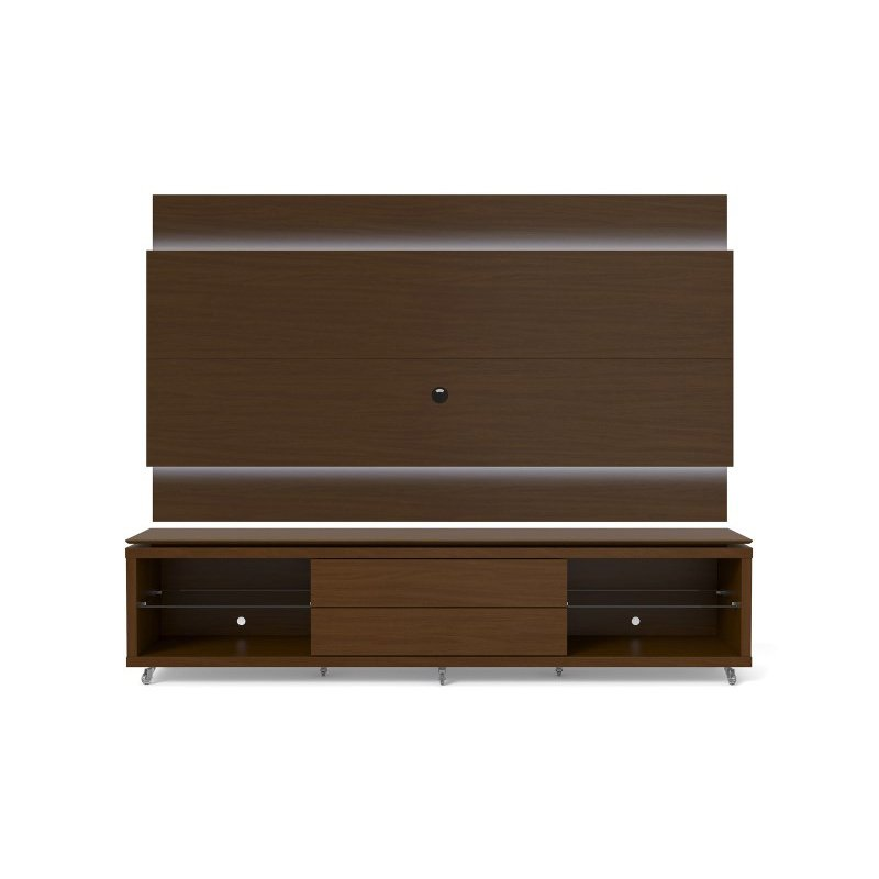 Manhattan Comfort Lincoln TV Stand with Silicone Casters and Lincoln Floating Wall TV Panel with LED Lights 2.4 in Nut Brown
