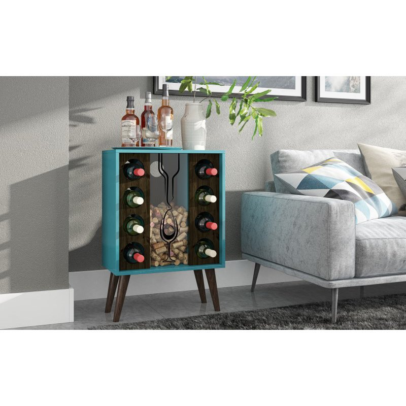 Manhattan Comfort Lund 8 Bottle Wine Cabinet and Display in Aqua and Rustic Brown (109AMC156)