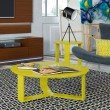 Manhattan Comfort Madison 2 Piece Accent Table Living Room Set in Lime Gloss