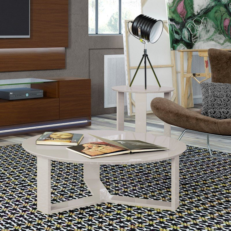 Manhattan Comfort Madison 2 Piece Accent Table Living Room Set in Off White