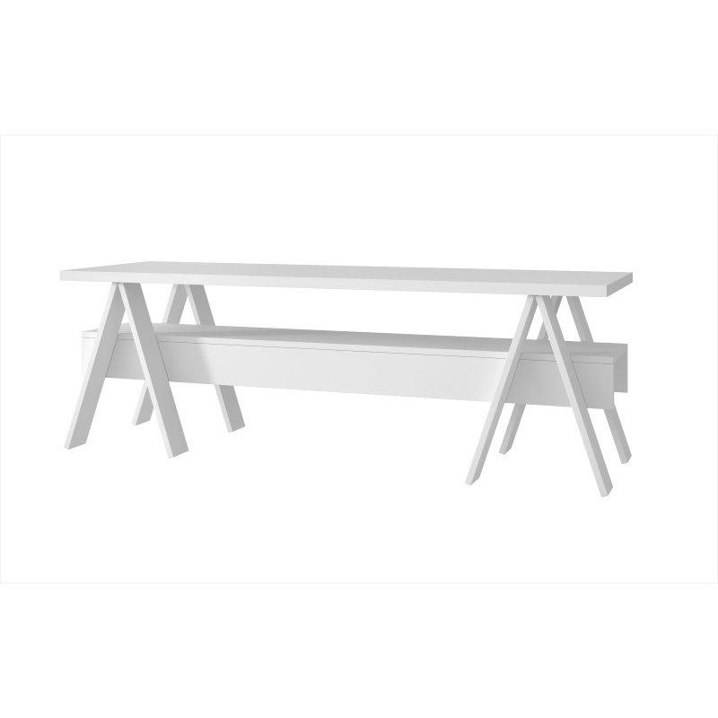 "Manhattan Comfort Messina 53.15"" TV Stand with 1 Lower Shelf in White (121AMC6)"