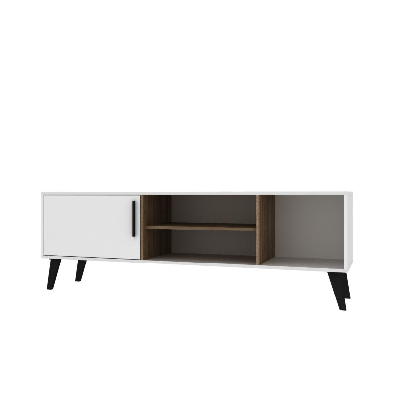 """Manhattan Comfort Mid-Century Modern Amsterdam 63"""" TV Stand with 4 Shelves in White and Oak (154AMC22)"""