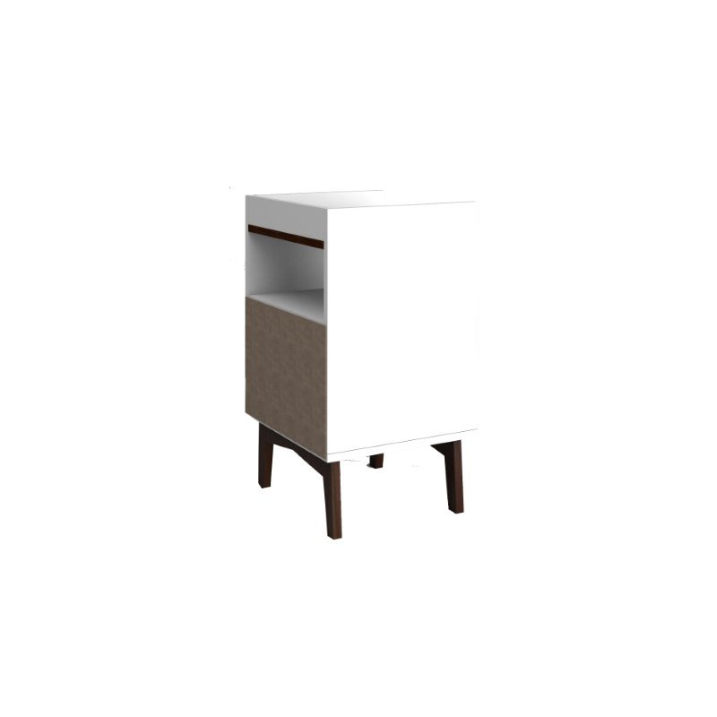 Manhattan Comfort Mid-Century Modern Brookdale Nightstand with 1 Shelf in White and Nut Brown (141AMC209)