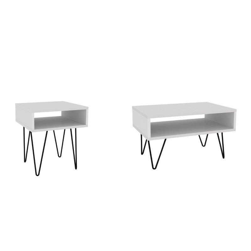 Manhattan Comfort Mid-Century Modern Nolita 2-Piece Accent Tables in White (2-170AMC98)