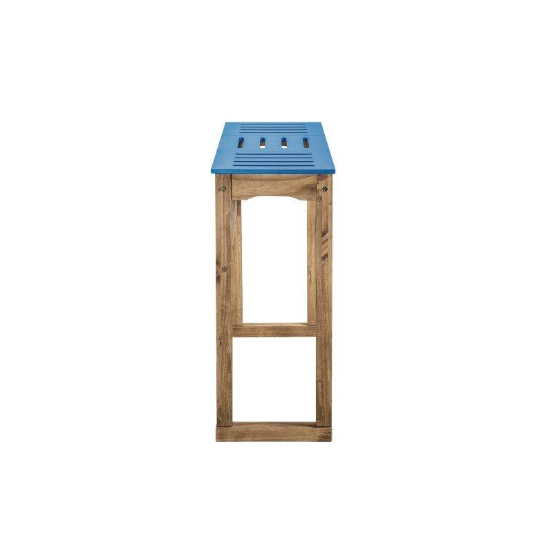 "Manhattan Comfort Mid- Century Modern Stillwell 47.3"" Bar Table in Blue and Natural Wood (CS105501)"