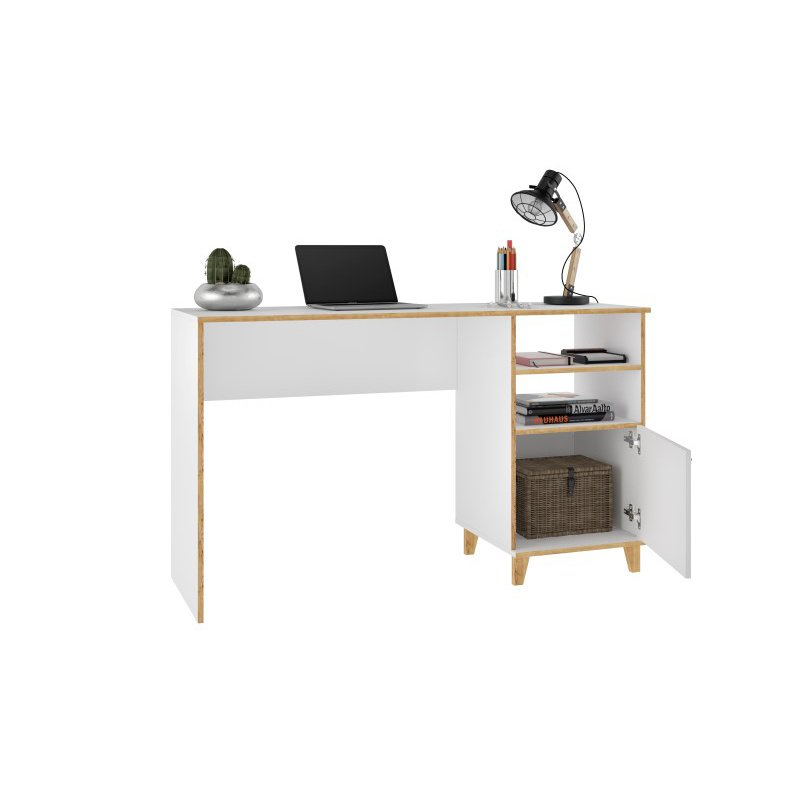 Manhattan Comfort Minetta 2-Shelf Mid Century Office Desk in White (136AMC160)