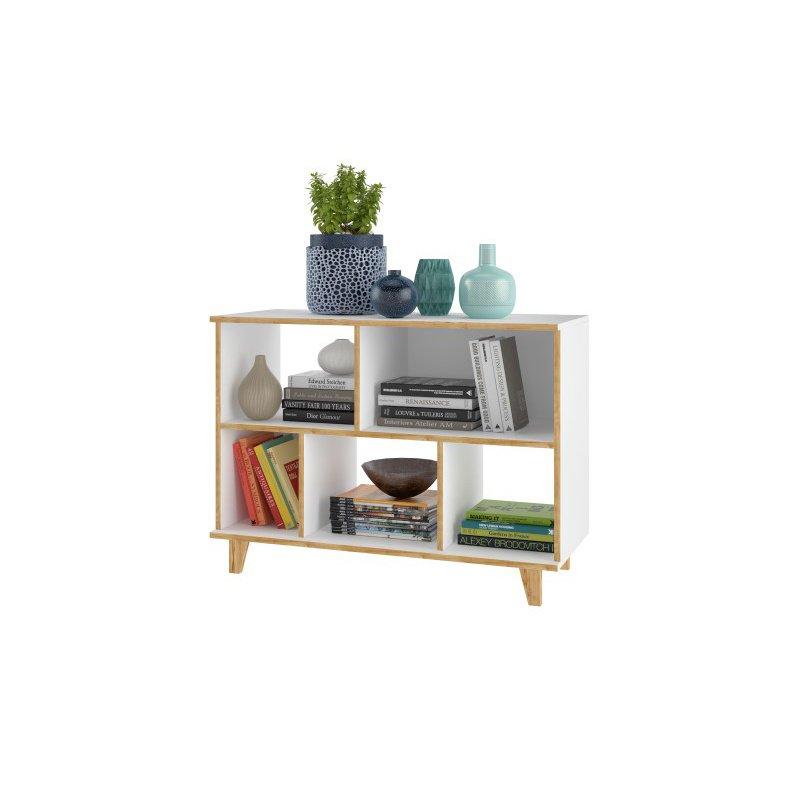 Manhattan Comfort Minetta 5-Shelf Mid Century Low Bookcase in White (129AMC160)