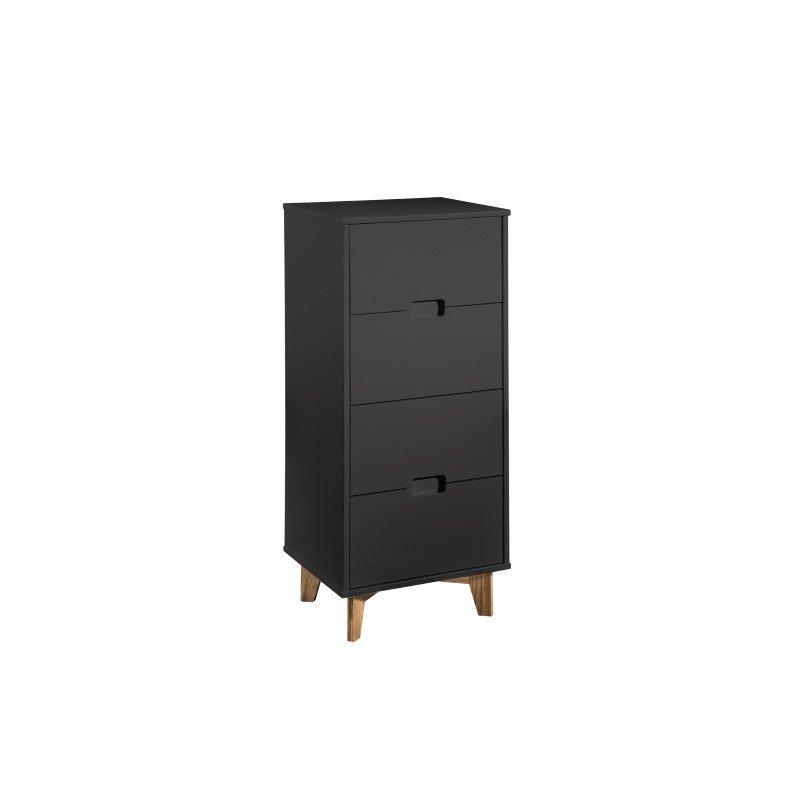 "Manhattan Comfort Modern 4-Drawer Glenmore 41.14"" Tall Dresser in Dark Grey and Natural Wood (CS91309)"
