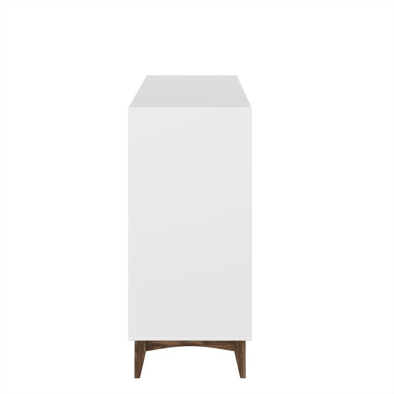 "Manhattan Comfort Modern Rustic 4-Drawer Hamilton 35.03"" Wide Dresser in White and Wood (CS48308)"