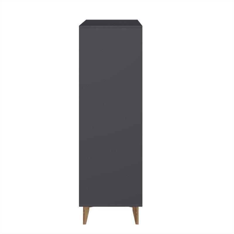 "Manhattan Comfort Modern Rustic 6-Drawer Hamilton 53.54"" Tall Dresser in Dark Grey and Wood (CS48409)"
