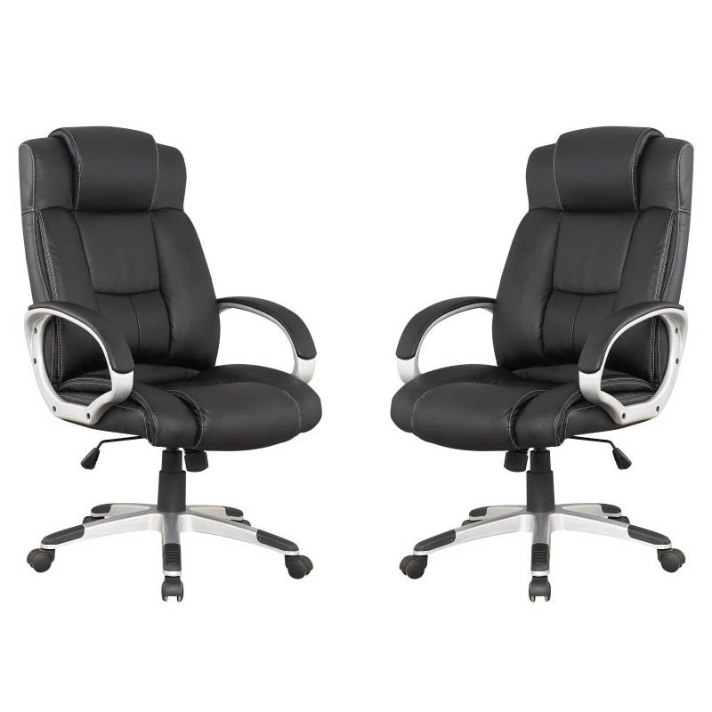 Manhattan Comfort Presidentential Washington Office Chair in Black  (Set of 2)