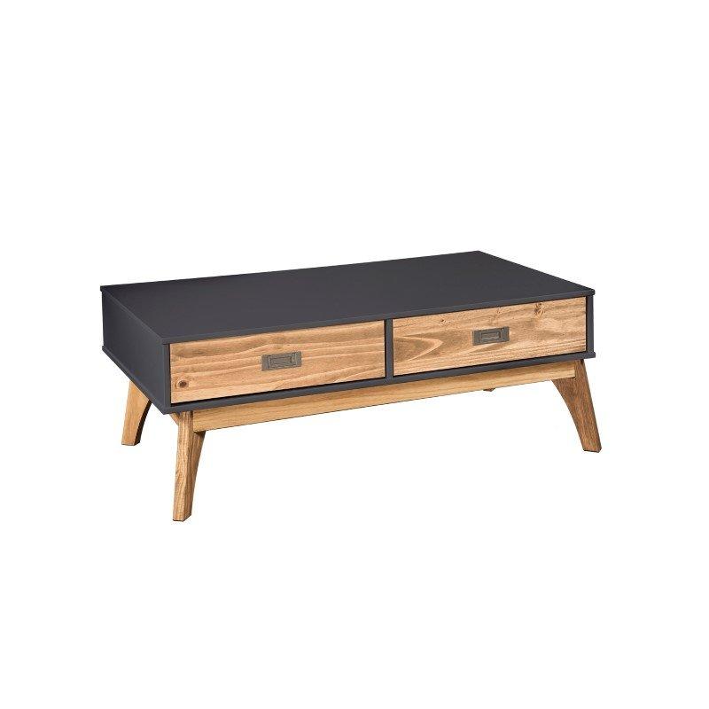 Manhattan Comfort Rustic Mid-Century Modern 2-Drawer Jackie 1.0 Coffee Table in Dark Grey and Natural Wood (CS96809)
