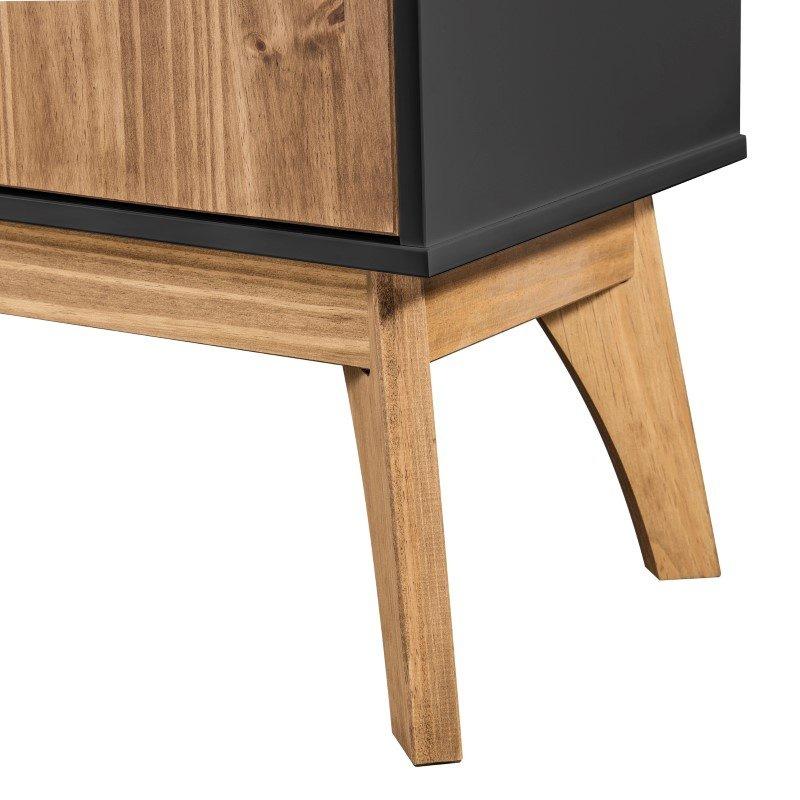 "Manhattan Comfort Rustic Mid-Century Modern Jackie 43.3"" TV Stand in Dark Grey and Natural Wood (CS96709)"