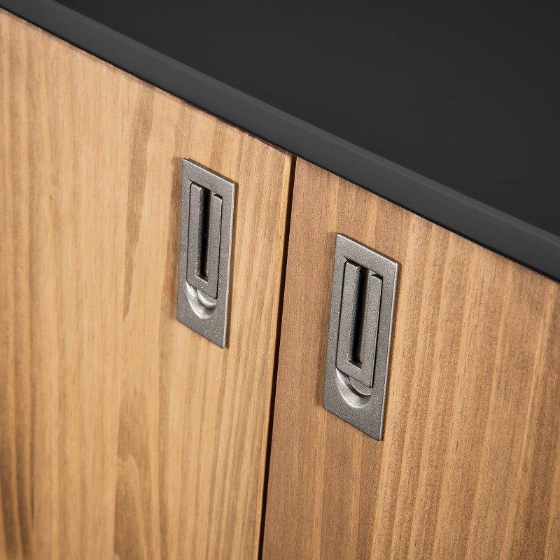 "Manhattan Comfort Rustic Mid-Century Modern Jackie 49.4"" High Dresser Cabinet in Dark Grey and Natural Wood (CS96009)"