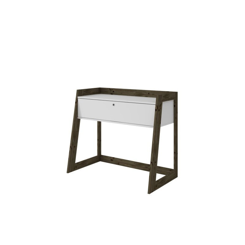 """Manhattan Comfort Salvador 36.85"""" Entryway with 1 Drawers in White and Dark Oak (113AMC143)"""
