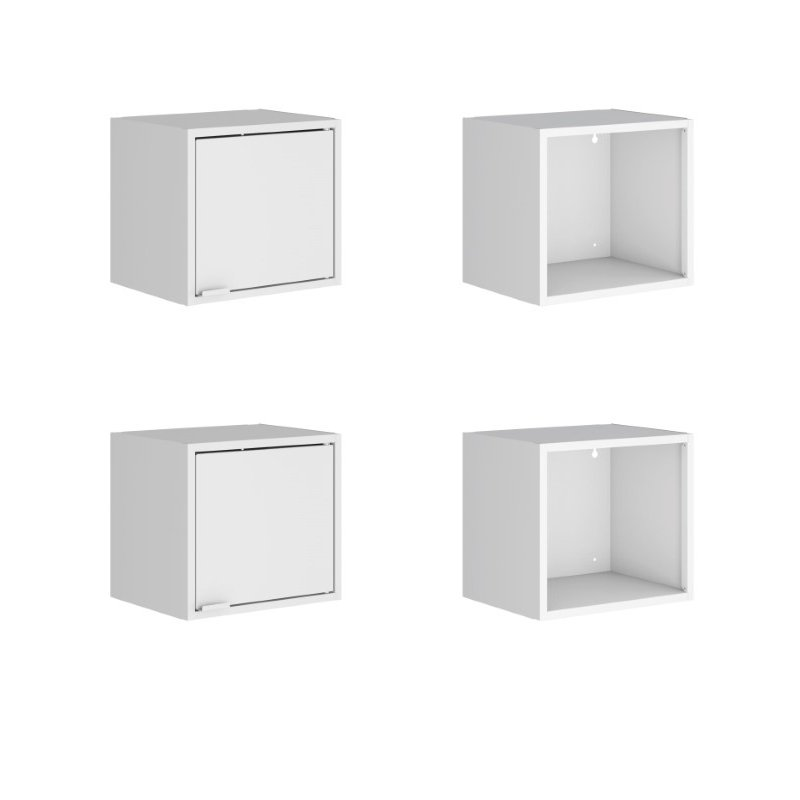 "Manhattan Comfort Smart 4-Piece 13.77"" Floating Cabinet and Display Shelf in White  (4-12GMC1)"