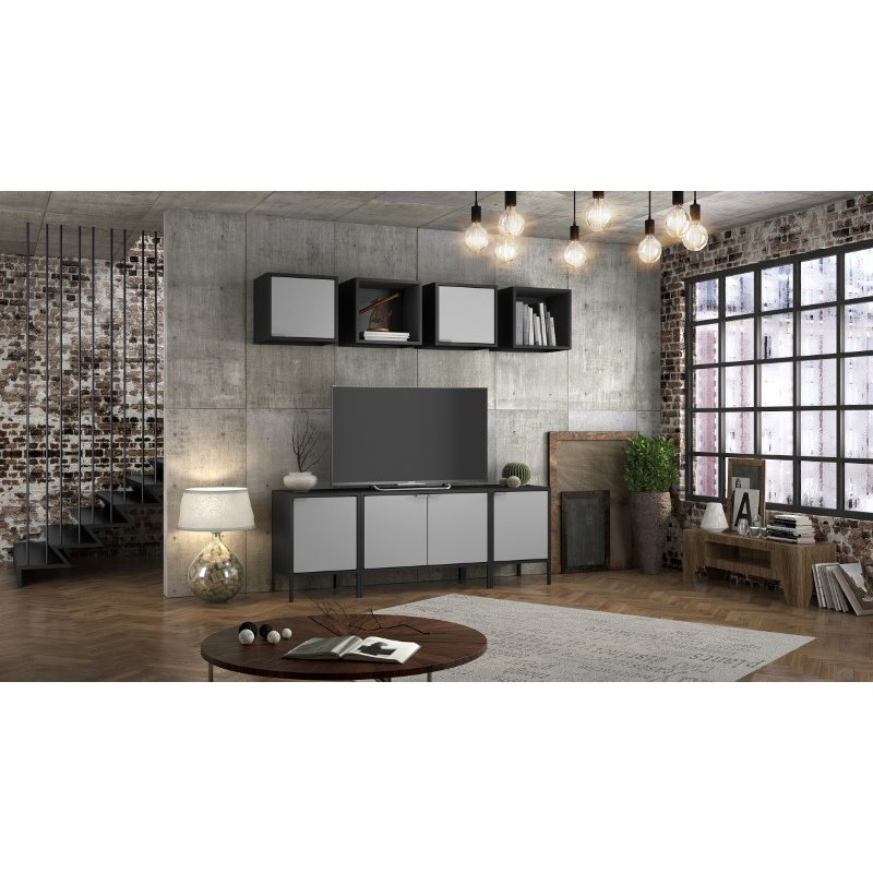 Manhattan Comfort Smart Floating Cube Cabinet in Black and Grey  (12GMC3)