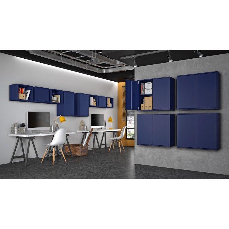 Manhattan Comfort Smart Floating Cube Display Shelf in Blue (13GMC4)
