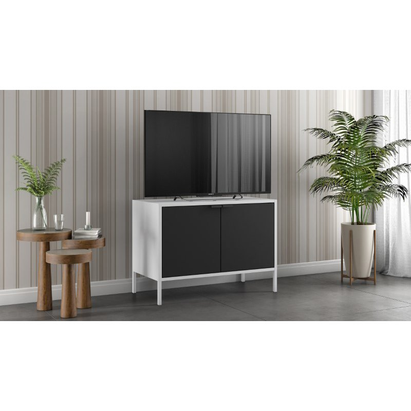 """Manhattan Comfort Smart Low 27.55"""" Wide TV Stand Cabinet in White and Black  (10GMC2)"""