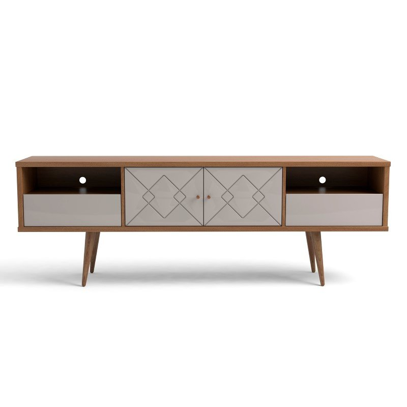 """Manhattan Comfort Trinity 70.86"""" Mid- Century Modern TV Stand with Solid Wood Legs in Off White and Maple Cream (220952)"""