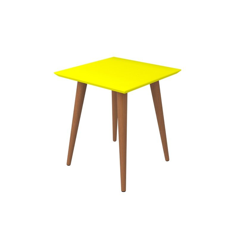 """Manhattan Comfort Utopia 19.68"""" High Square End Table With Splayed Wooden Legs in Yellow (89353)"""