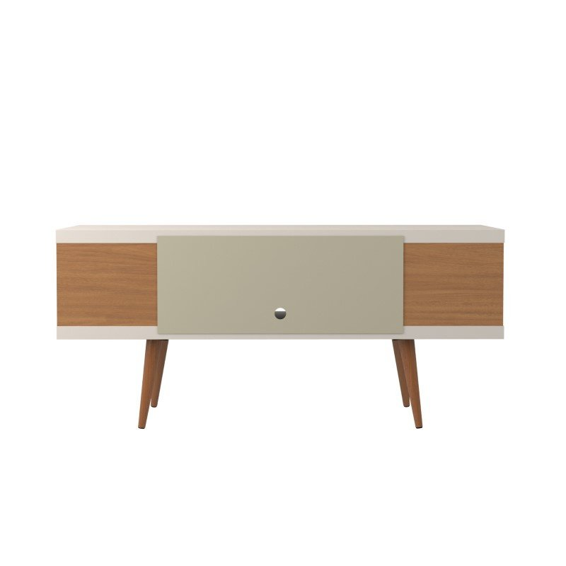 """Manhattan Comfort Utopia 53.14"""" TV Stand with Splayed Wooden Legs and 4 Shelves in Off White and Maple Cream (19651)"""