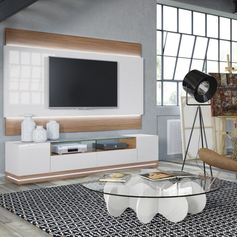 Manhattan Comfort Vanderbilt TV Stand with LED Lights in Maple Cream and Off White