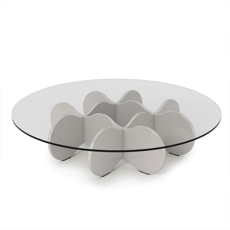 """Manhattan Comfort Waverly 28"""" Round Glass Top Accent End Coffee Table in Off White"""