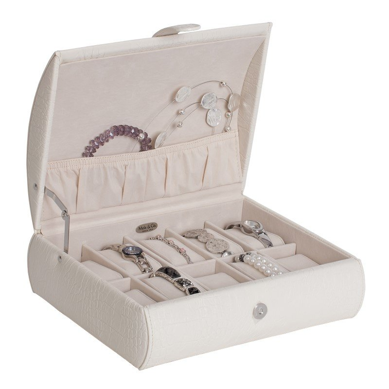 Mele & Co. Adriana Croco Faux Leather Watch Case in Ivory