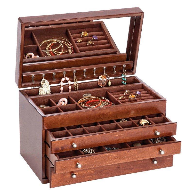 Mele & Co. Brigitte Wooden Jewelry Box in Antique Walnut Finish