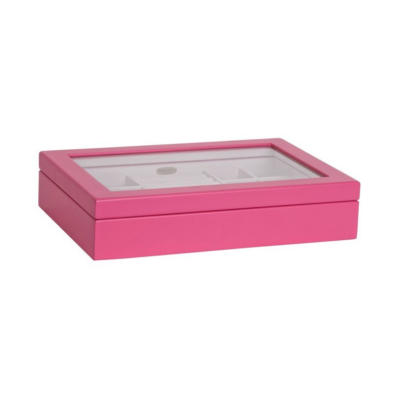 Mele & Co. Cassidy Glass Wooden Jewelry Box in Pink