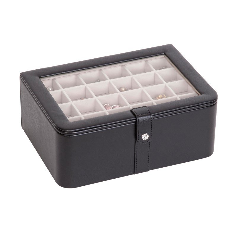 Mele & Co. Easton Glass Top Jewelry Box in Black Faux Leather