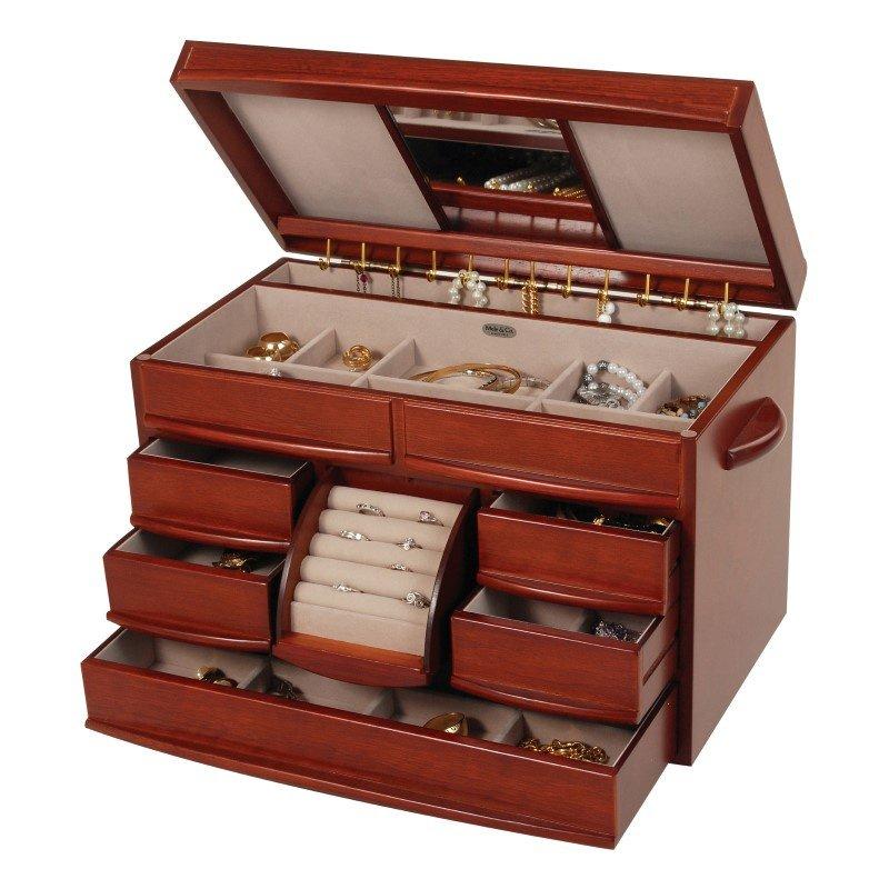 Mele & Co. Empress Wooden Jewelry Box in Walnut Finish