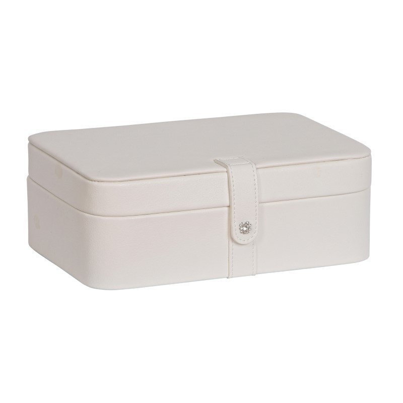 Mele & Co. Lila Forty-Eight Section Jewelry Box in Ivory Faux Leather