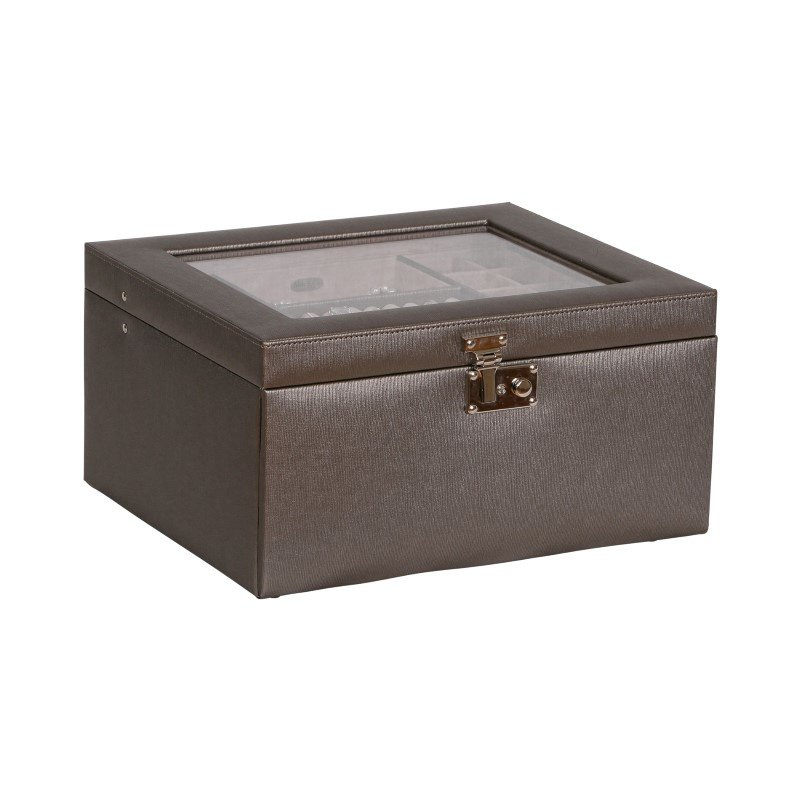 Mele & Co. Linden Glass Top Fashion Jewelry Box in Textured Pewter Faux Leather