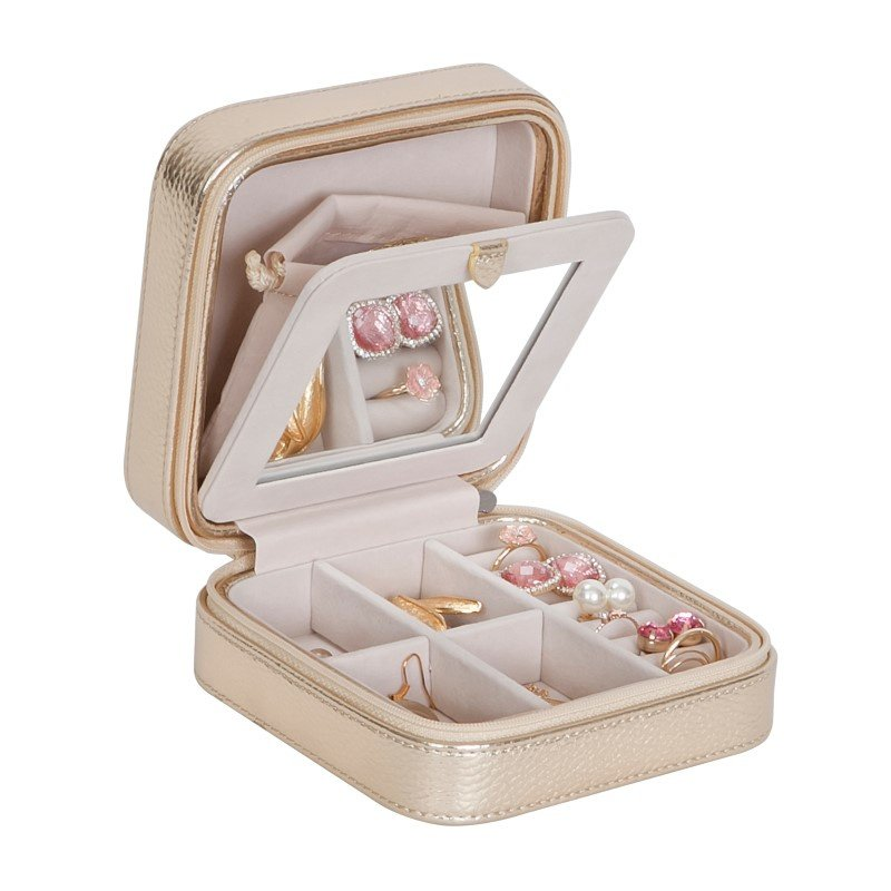 Mele & Co. Luna Travel Jewelry Case in Metallic Faux Leather in Gold