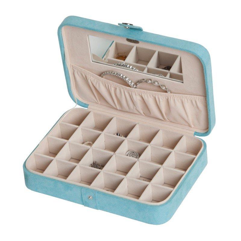 Mele & Co. Maria Plush Fabric Jewelry Box with Twenty-Four Sections in Aqua