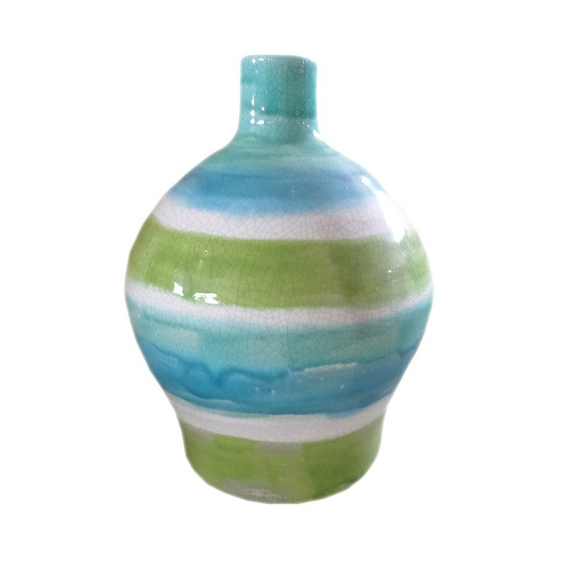 Moe's Home Collection Aqua Bands Vase Wide - Set of 2 (PY-1087-26)