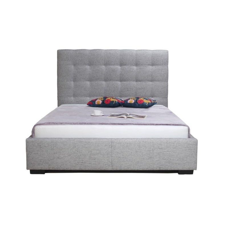 Moe's Home Collection Belle Storage Queen Bed in Light Grey Fabric (RN-1000-29)