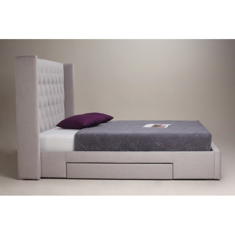 Moe's Home Collection Blair 2-Drawer King Bed in Cappuccino Fabric (RN-1003-14)