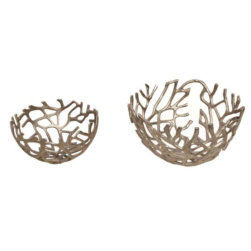 Moe's Home Collection Branch Bowl Silver - Set of 2 (MK-1002-30)