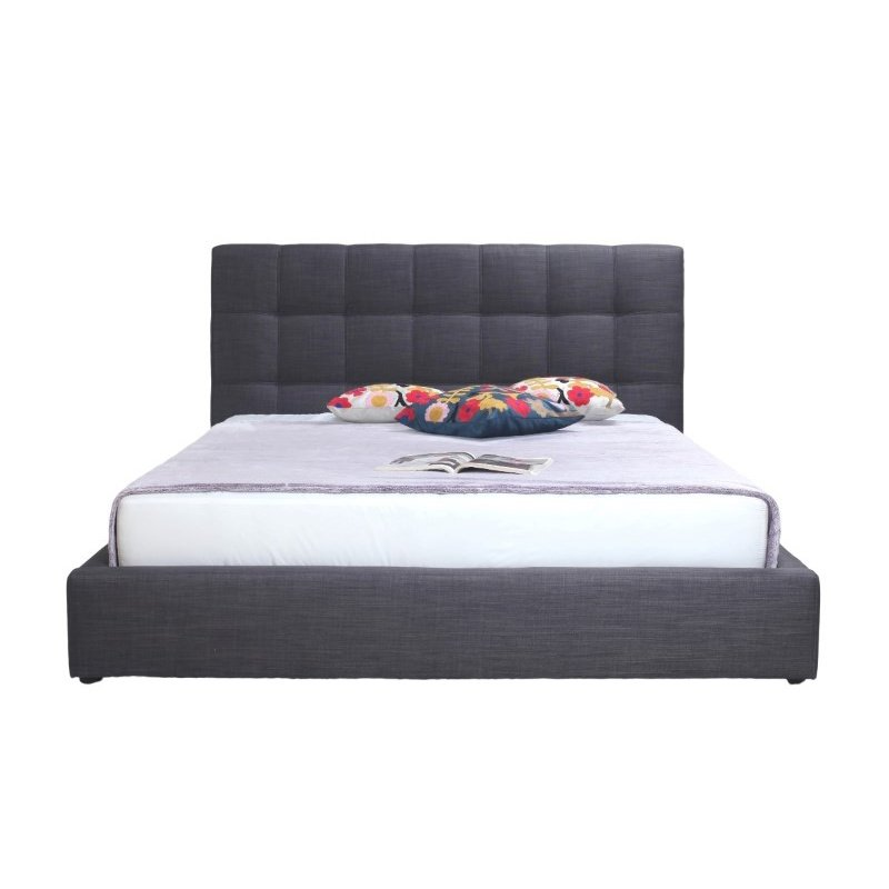 Moe's Home Collection Bridget King Bed in Dark Grey Fabric (RN-1005-25)