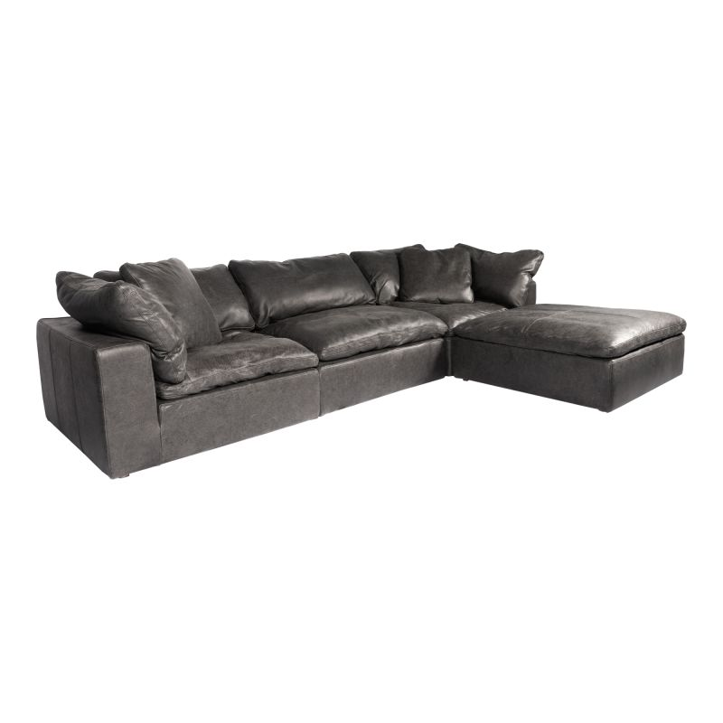 Moe's Home Collection Clay Lounge Modular Sectional Nubuck Leather Black (YJ-1008-02)