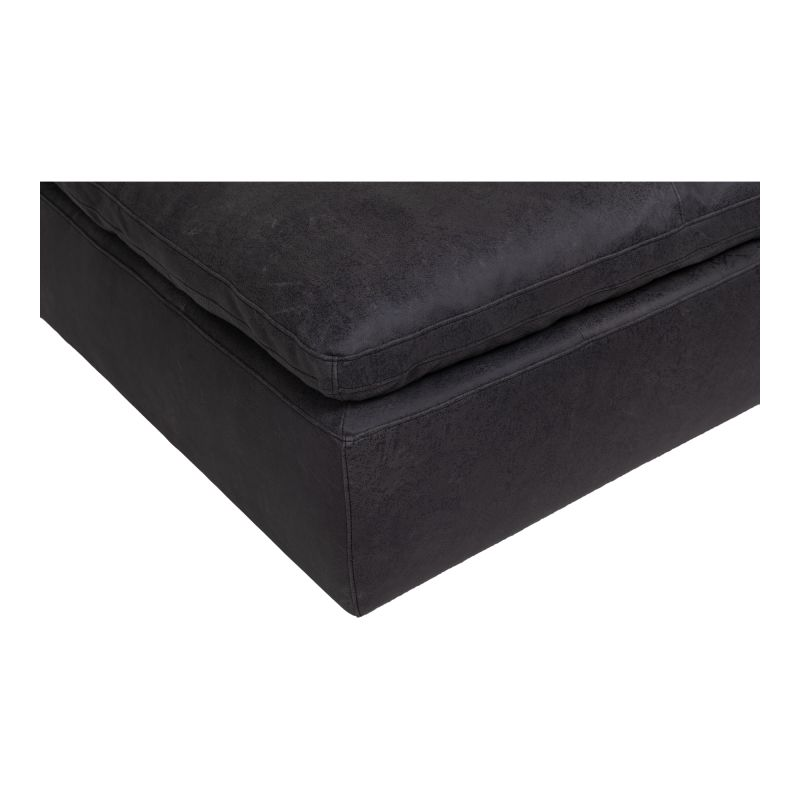 Moe's Home Collection Clay Ottoman Nubuck Leather Black (YJ-1006-02)