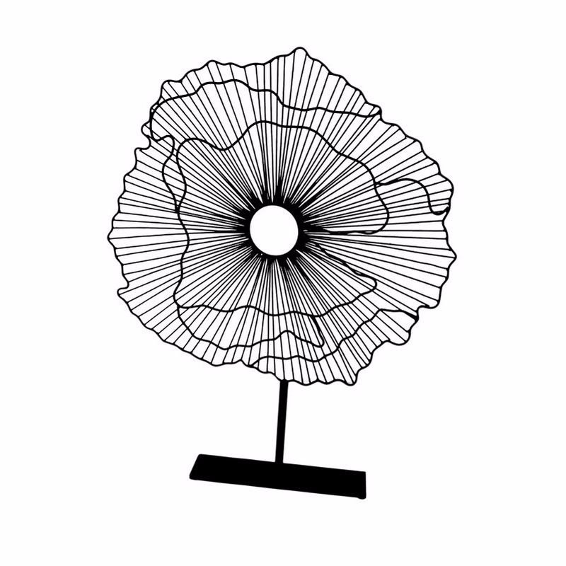 Moe's Home Collection Deco Flower On Stand in Black Large (MX-1002-02)