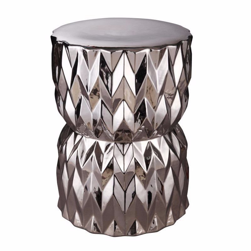 Moe's Home Collection Facet Stool in Silver (XE-1007-30)