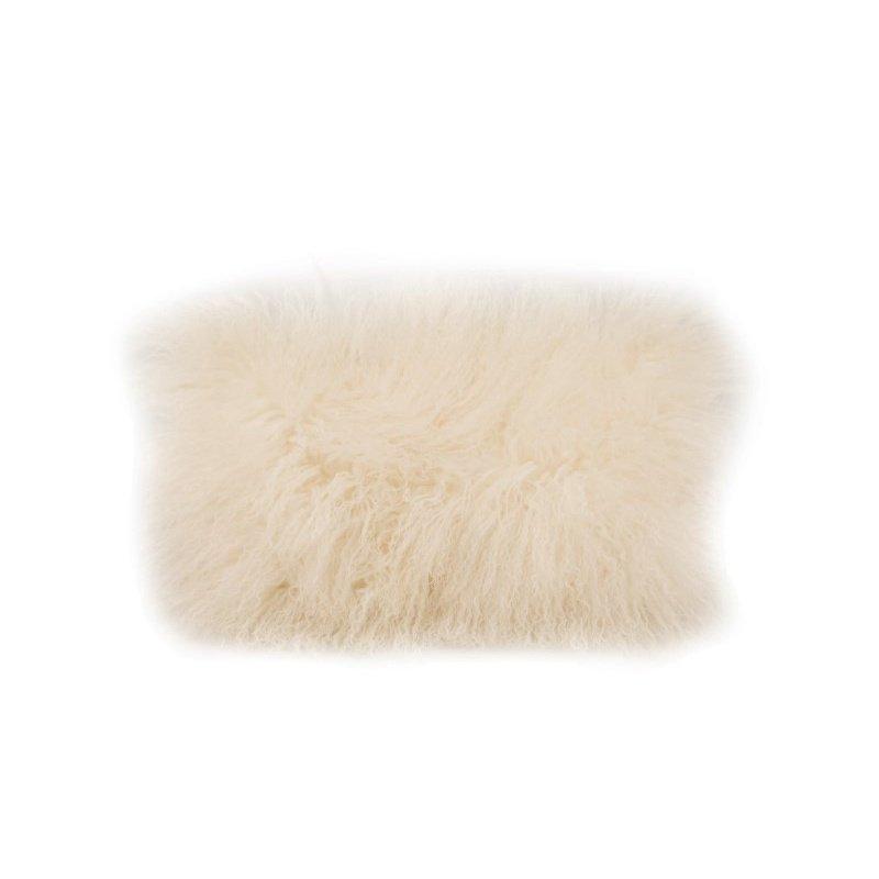 Moe's Home Collection Lamb Fur Pillow Rectangular in Cream (XU-1001-05)