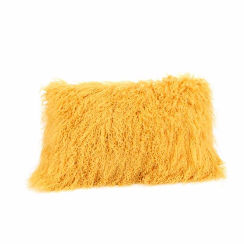 Moe's Home Collection Lamb Fur Pillow Rectangular in Gold (XU-1001-32)